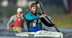 Graeme Solomon led a front bunch of four across the finish line at the end of the first stage of the four day long Berg River Canoe Marathon on Wednesday. - John Hishin/ Gameplan Media
