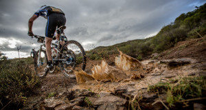 Riders make their way through the mud during stage 3 of the 2014 Absa Cape Epic Mountain Bike stage race held from Arabella Wines in Robertson to The Oaks Estate in Greyton, South Africa on the 26 March 2014 Photo by Karin Schermbrucker/Cape Epic/SPORTZPICS