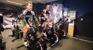 Kargo Pro MTB Team's Rourke Croeser (left) and manager/coach Shaun Peschl in a training session on Wattbikes in the simulated high altitude chamber at Prime Human Performance Institute in Durban.