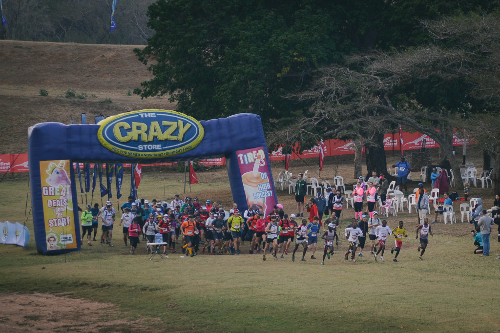The start to the Crazy Store 1000 Hills Challenge long course won by Solicitor Manduwa and for the ladies both Trish Bahlman and Tracy Zunckel crossed the line at the same time.