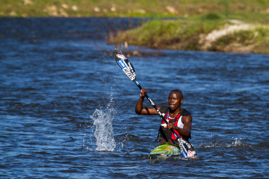 Rising under-18 talent Mthobisi Cele led home a gaggle of the Computershare Change a Life Academy's young talents at the Berg River Canoe Marathon as the squad clinched positions one through five in the under-18 boys' race. - John Hishin/ Gameplan Media