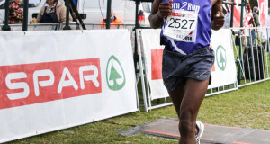 Born 2 Run athlete Luthando Hejana from Mdantsane won the inaugural SPAR Family Challenge 10km road race in East London on Saturday. Photo: Dean Venish