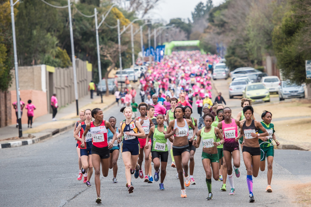 The start of the Totalsports Ladies Race in Johannesburg on Saturday, 09 August 2014.  Lebohang Phalula claimed gold in the 10km Totalsports Ladies Race in a lightning fast time of 36 minutes 01 second. PHOTO CREDIT:  Volume Photography