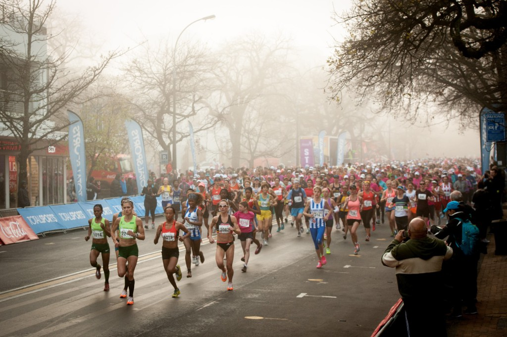 Runners at the start of the Totalsports Ladies Race in Stellenbosch on Saturday, 09 August 2014 in celebration of National Women's Day.  Photo Credit:  Cherie Vale / NEWSPORT MEDIA