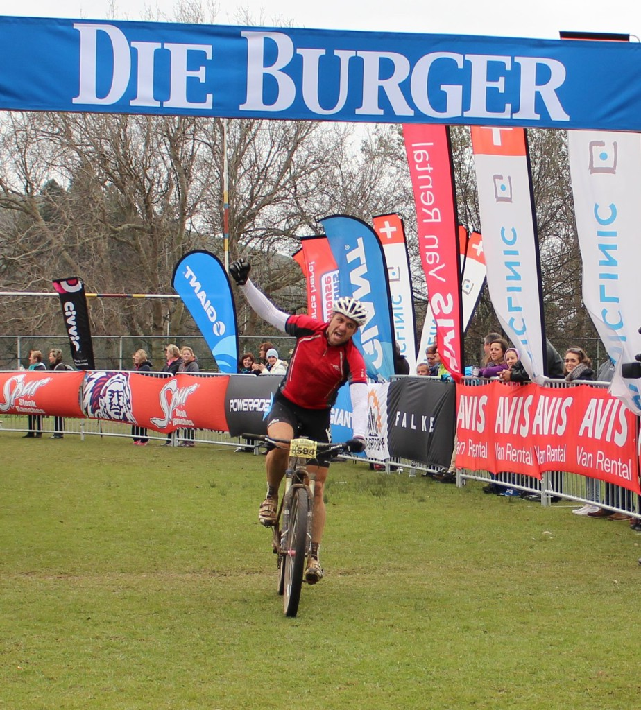 Matt Daneel crossing the finishline for the victory. Photo credit: Eunice Visagie, Outsider Communications
