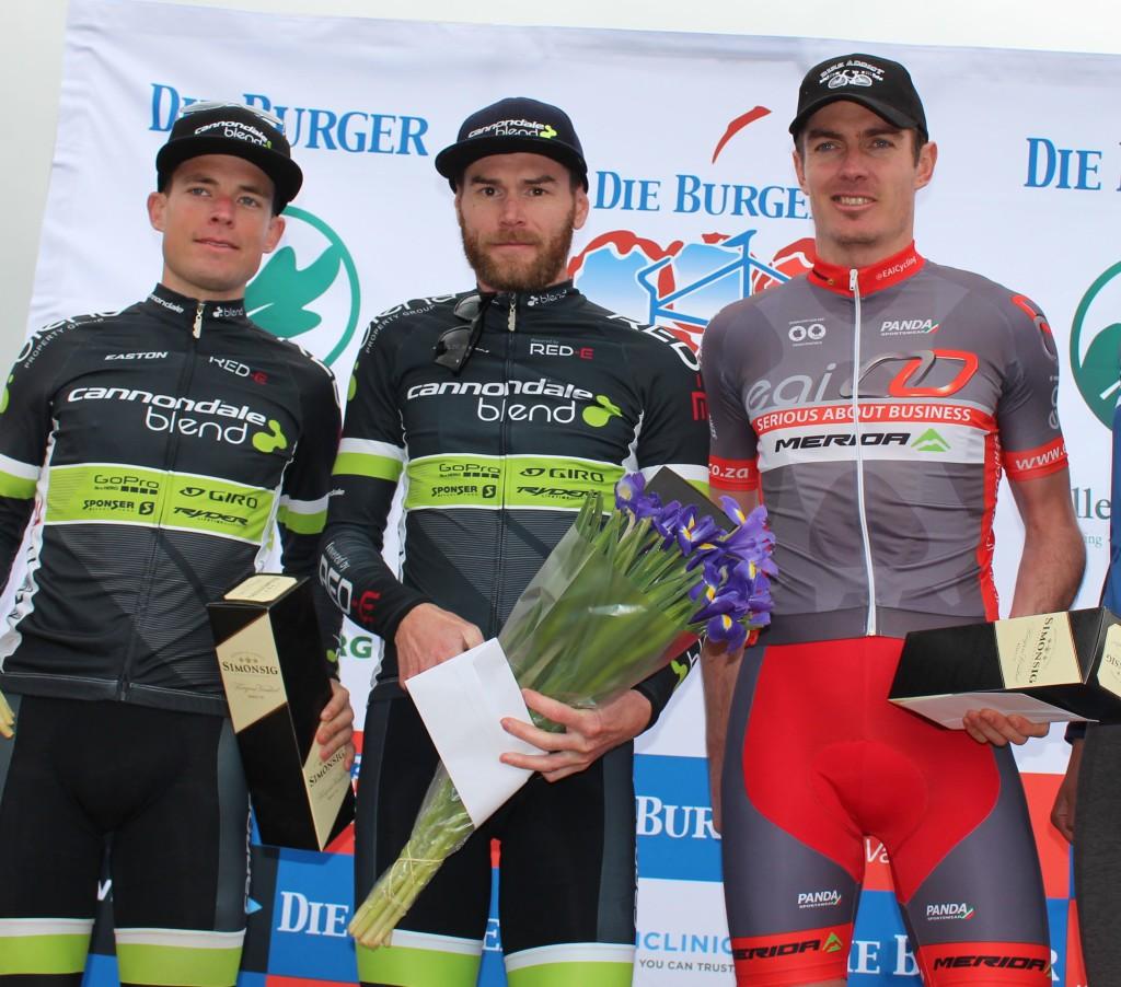 Mens podium, 75km Challenge won by Waylon Woolcock (Cannondale Blend) and Cherie Vale (Paarl Media) Photo Credit: Eunice Visagie