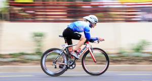 Caroline Koll in action at the TriRock Triathlon