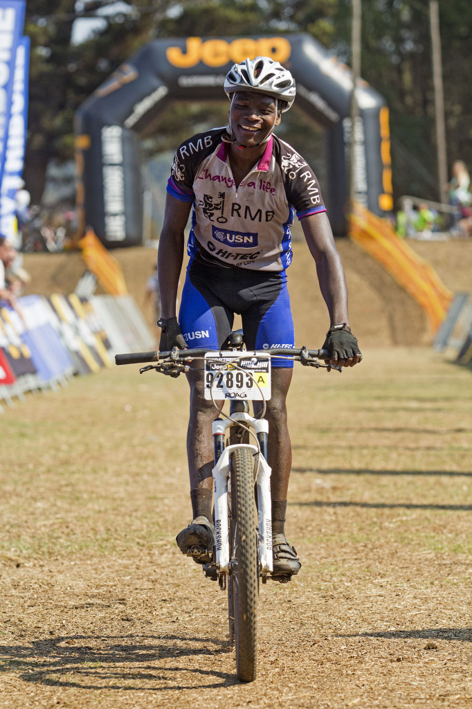 Sithembiso Masango flew the fly high for the RMB Change a Life MTB Academy at the recent Sunday Tribune Jeep Hill2Hill MTB ultra-marathon when he claimed a hard-fought seventh place. - Jon Ivins/ joninvins.com