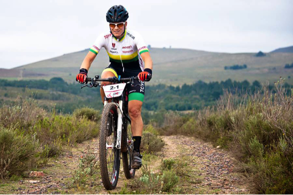 Biogen Toyota's South African marathon champion, Robyn de Groot, during Stage 2 of the PE-Plett where she and teammate, Jennie Stenerhag, won all four stages and the overall women's title. Photo credit: Peter Kirk