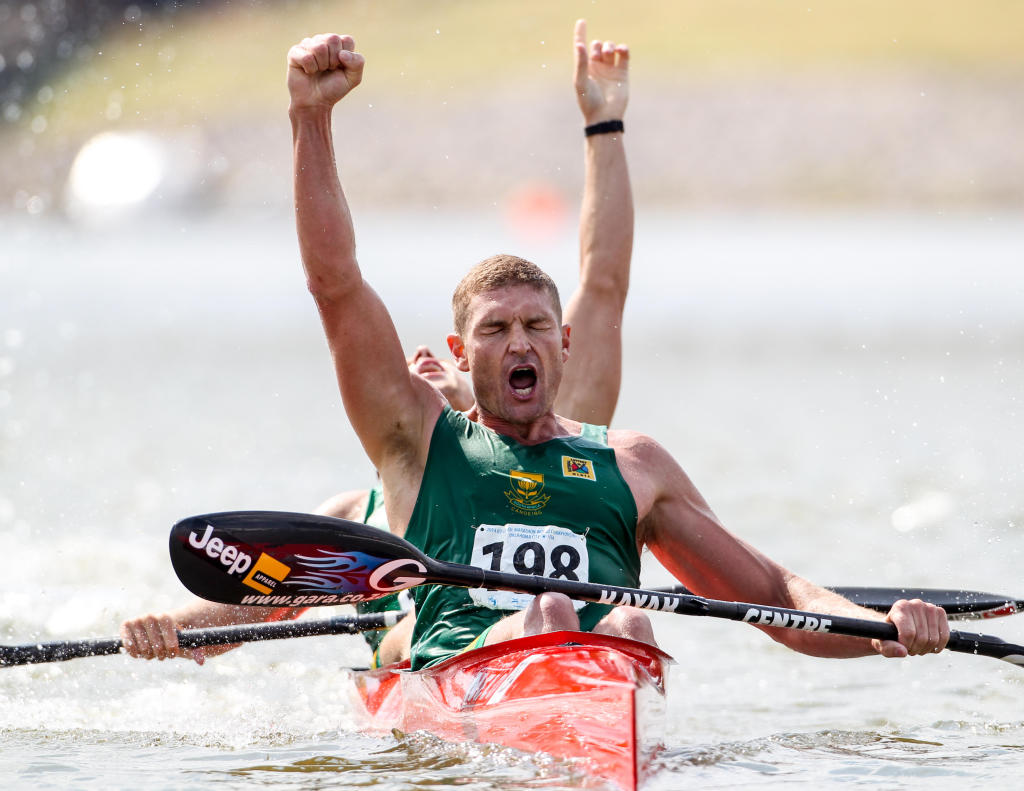 Hank McGregor and Jasper Mocké (back) cross the line to claim victory in the Senior men's K2 race at the ICF Canoe Marathon World Championships. The win made McGregor the first South African to clinch the elusive double of K1 and K2 titles at the same world championships - Balint Vekassy/ Gameplan Media