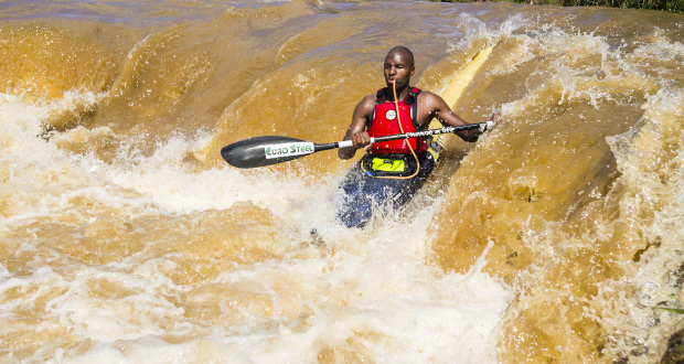 EuroSteel's Sbonelo Khwela anxiously awaits this year's Ozzie Gladwin Canoe Marathon, presented by Parklane SuperSpar, as he prepares for the early season portage test the race presents. = Anthony Grote/ Gameplan Media