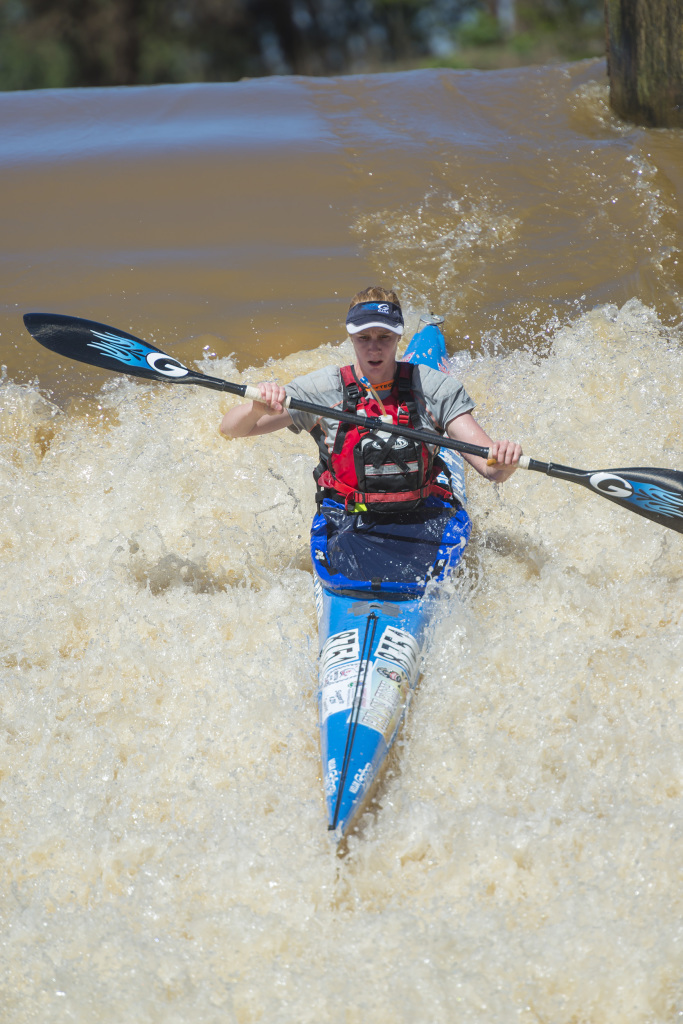 Abby Adie slides down the Ernie Pearce weir at the start of the Umpetha Challenge on Sunday en route to a hat trick of victories in the key Dusi qualifier. Anthony Grote/ Gameplan Media