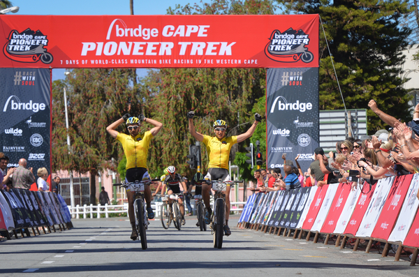 Bridge Cape Pioneer Trek 2014 champions, Simon Stiebjahn (left) and Tim Bohme of Team Bulls show a combination of relief and satisfaction after winning the final stage. Photo credit: Zoon Cronje/Nikon/Xtremedia