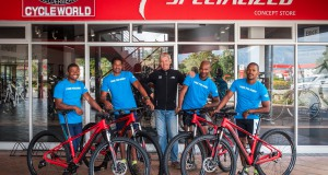 """Cape Trails, the official route builders of the FNB Wines2Whales (W2W) Mountain Bike (MTB) Events, are super excited to take ownership of their new Specialized mountain bikes compliments of the FNB W2W event organizers and Specialized South Africa.  Seen here (from left to right):  Ashwell Swartz, Jason Adams, Johan Kriegler (FNB W2W MTB Director), Denzel Scheepers and Brendon Booysen.  PHOTO CREDIT:  Cherie Vale / NEWSPORT MEDIA   Please Note:  The """"I RIDE FOR BURRY"""" t-shirt worn by Cape Trails in the attached photograph retails at R150 and will be available at the Specialized/songo.info display at the 2014 FNB W2W MTB Events."""