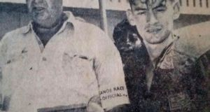 A massive field of paddlers will take part in the Ozzie Gladwin Canoe Marathon, presented by Parklane SuperSpar, as a tribute to legendary timekeeper and canoeing administrator Ozzie Gladwin, pictured here (left) with his son Peter Gladwin at the finish of the 1962 Dusi.