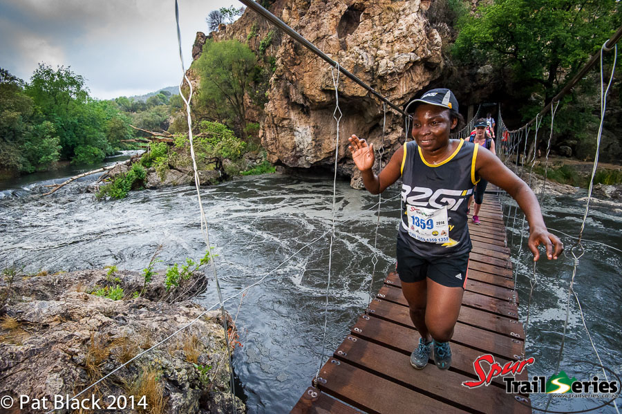Third place lady, Takalani Ndandani at race 1 of the Spur Gauteng Summer Trail Series™ Long Course. Image by Pat Black.