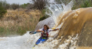Andy Birkett negotiates Cradock Weir during the recent Hansa Fish River Canoe Marathon. The Team Eurosteel athlete is aiming at ending his run of second places in the 2014 Ozzie Gladwin, presented by Parklane SuperSpar this weekend. - John Hishin/ Gameplan Media