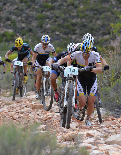 Germany's Karl Platt, four time winner of the ABSA Cape Epic, opts to push his bike up a loose climb as he leads the front group at the 2014 Fairview Attakwas Extreme Challenge. The 2015 event is full, but the organisers made 70 charity entries available on Wednesday 5 November. Photo credit: Zoon Cronje/Nikon/Xtremedia