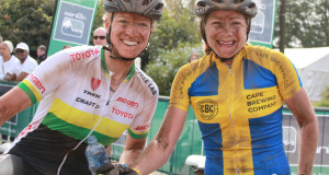 Swedish marathon champion Jennie Stenerhag (right), pictured here with Robyn de Groot at this year's sani2c, was the women's race winner at the inaugural Bestmed Paarl MTB Classic, presented by the City of Drakenstein, in the Cape Winelands on Sunday. Photo: Full Stop Communications