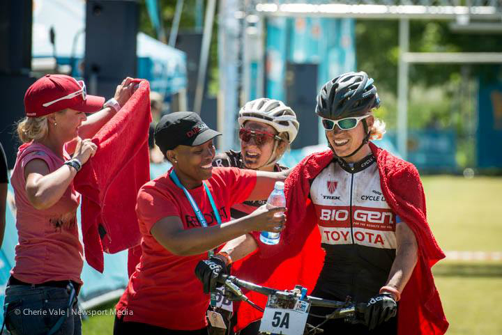 Robyn de Groot (right) and Catherine Williamson are greeted at the finish line of Stage 1 of the FNB Wines2Whales after finishing the stage in second place. The pair went on to win Stages 2 and 3 and claim the overall title. Photo credit: Cherie Vale/Newsport Media