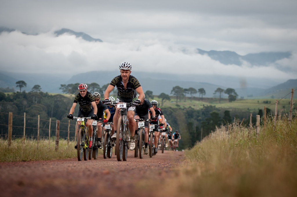 Seen here leading the bunch (from left to right):  Frikkie Hartog and Gerard Dirks of Team Knersus successfully defended their men's team title in Onrus on Wednesday, 05 November 2014 completing the three day stage race, the FNB Wines2Whales MTB Ride, in a combined time of 10 hours 33 minutes 52 seconds.  Photo Credit:  Cherie Vale / NEWSPORT MEDIA