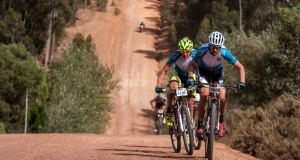 The third and final stage of the 2014 FNB Wines2Whales (W2W) Mountain Bike (MTB) Race got underway at Oak Valley Wine Estate (Elgin-Grabouw) on Sunday, 09 November 2014.  Christoph Sauser and Konny Looser of Team Meerendal-SONGO-Specialized/Wheeler claimed two stage victories and the overall men's champions' title completing the three day MTB stage race in a lightning fast time of 08 hours 36 minutes 29 seconds.   Seen here (from left to right):   Konny Looser and Christoph Sauser in action on the day.  PHOTO CREDIT:  Cherie Vale / NEWSPORT MEDIA