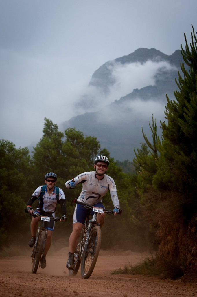 Seen here (from front to back):  Marc Barry and Robin David of Team 2leftsocks in action during Stage One of the FNB Wines2Whales Mountain Bike Ride that started at Lourensford Wine Estate (Somerset West) and finished at Oak Valley Wine Estate (Elgin-Grabouw) today (Monday, 03 November 2014).  Photo Credit:  Cherie Vale / NEWSPORT MEDIA