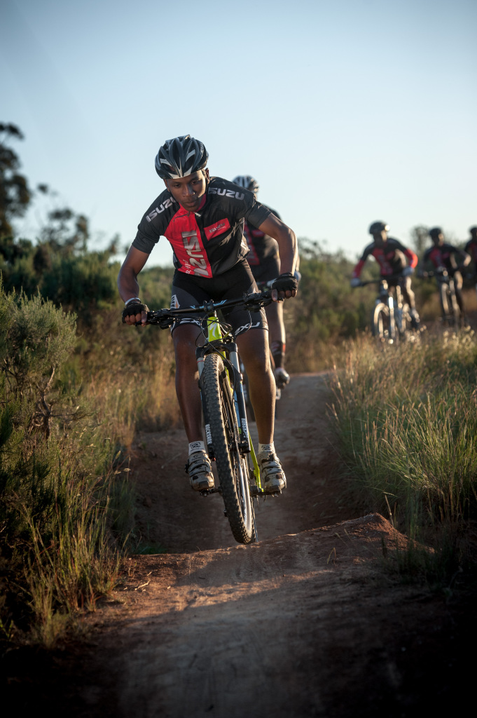 Seen here:  Riders in action at G-Spot, a section of the Pennypinchers Origin Of Trails 2-Day Mountain Bike (MTB) Stage Race route.  Photo Credit:  Cherie Vale / NEWSPORT MEDIA