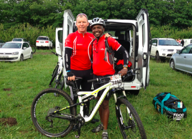 Alec Riddle, pictured here with SA Chief Scout Sibusiso Vilane, of Mount Everest fame, preparing for the Wines2Whales MTB race.