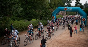 Seen here:  The first batch of riders departing from Lourensford Wine Estate (Somerset West) on Monday, 03 November 2014 for the first stage of the FNB Wines2Whales MTB Ride.  Photo Credit:  Cherie Vale / NEWSPORT MEDIA