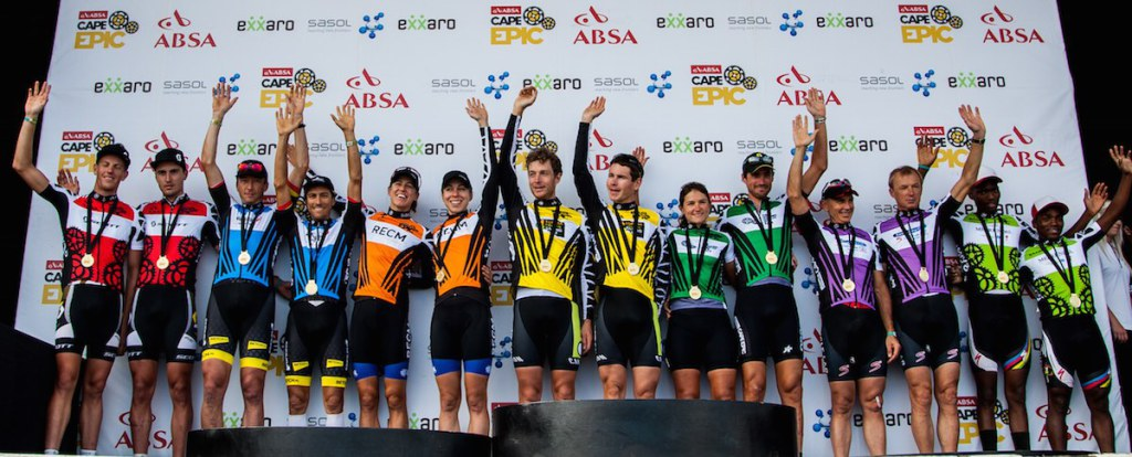 Winners from each category from left to right: African, Masters, Ladies, Overall, Mixed, Grand Masters and Exxaro during the final stage (stage 7) of the 2014 Absa Cape Epic Mountain Bike stage race from Oak Valley Wine Estate in Elgin to Lourensford Wine Estate in Somerset West, South Africa on the 30 March 2014 Photo by Warren Elsom/Cape Epic/SPORTZPICS