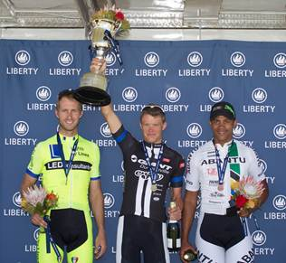 2014 Stellenbosch Cycle Tour men's elite winners (l-r): Jos le Roux (2nd), James Tennent (1st) and Nolan Hoffman (3rd).