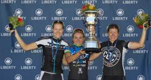 2014 Stellenbosch Cycle Tour women's elite winners (l-r): Maroesjka Matthee (2nd), Anriette Schoeman (1st) and Jennie Stenerhag (3rd).