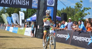 The Herald VW Cycle Tour's two-time Ultimate Quest champion James Reid celebrates his victory in last year's mountain bike feature race. The Ultimate Quest could be looking for a new champion in 2015. Photo: Full Stop Communications