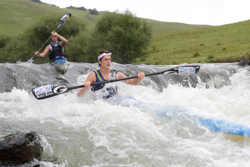 Dusi K1 champs Lance Kime, seen here leading Grant van der Walt through Glenhaven Rapid during last year's N3TC Drak Challenge - Anthony Grote/ Gameplan Media