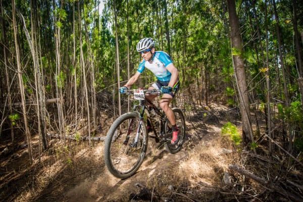 Seen here:  Christoph Sauser in action during the 2014 FNB Wines2Whales (W2W) Mountain Bike (MTB) Events.  PHOTO CREDIT:  Volume Photography