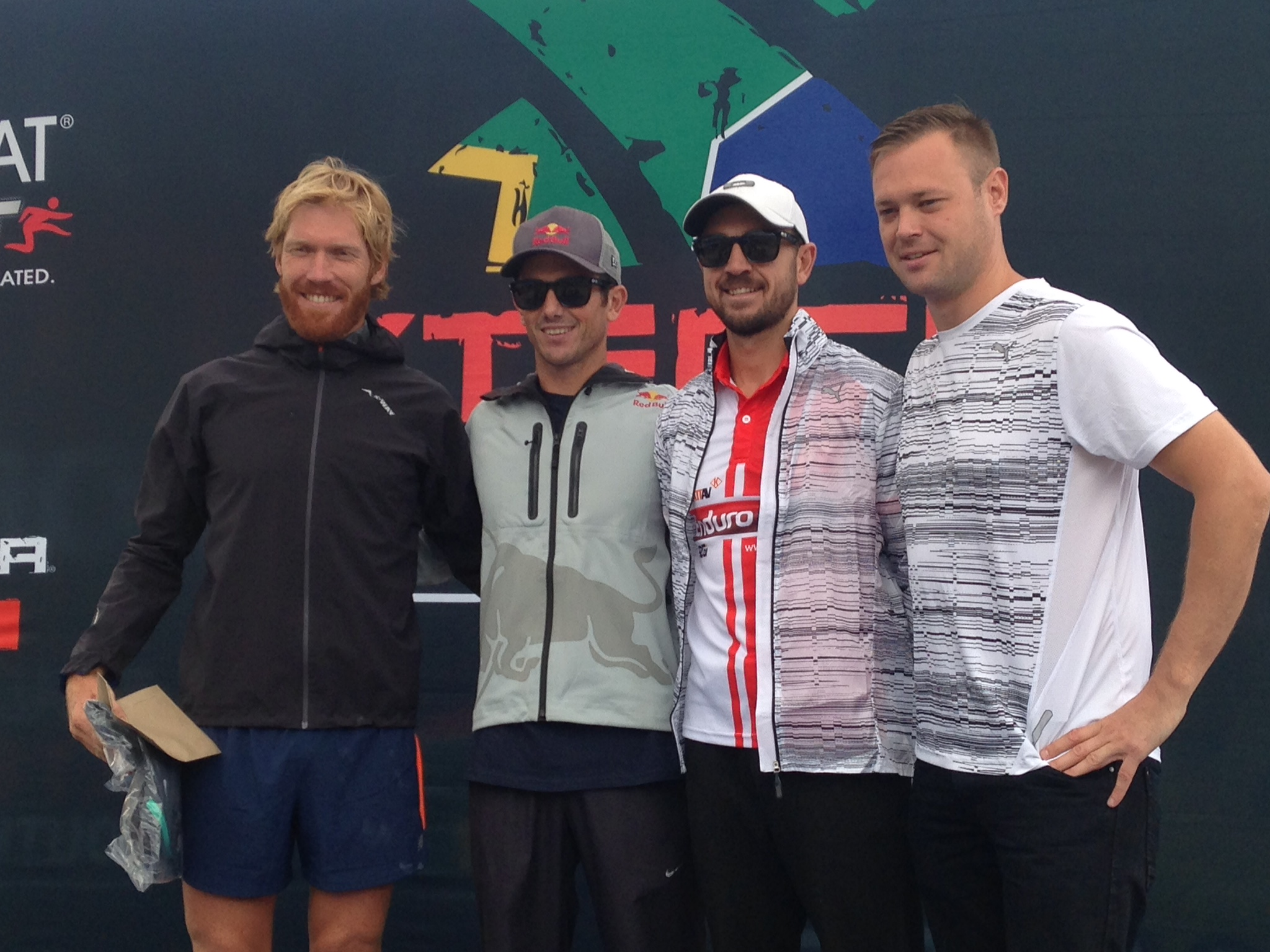 Men's podium with AJ Calitz, Lieuwe Boonstra and Morne Van Greunen with Grant Hamilton of Puma South Africa.