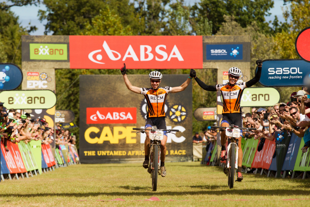 LOURENSFORD Annika Langvad & Ariane Kleinhans of RECM win the womens category during the final stage (stage 7) of the 2014 Absa Cape Epic Mountain Bike stage race from Oak Valley Wine Estate in Elgin to Lourensford Wine Estate in Somerset West, South Africa on the 30 March 2014 - Photo by Gary Perkin/Cape Epic/SPORTZPICS