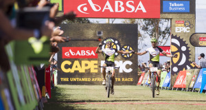 Jose Hermida(Spain) and Rudi Van Houts(Netherlands) of Multivan Merida win stage 1 of the 2013 Absa Cape Epic Mountain Bike stage race held from Citrusdal, South Africa on the 18 March 2013  Photo by Nick Muzik/Cape Epic/SPORTZPICS