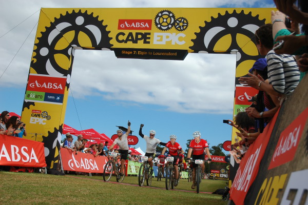 John Smith & co at the 2014 Absa Cape Epic finish - photo sportograf