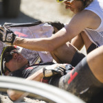 Christina Kollmann suffers from heat exhaustion during stage 3 of the 2015 Absa Cape Epic Mountain Bike stage race held from Oak Valley Wine Estate in Elgin to HTS Drostdy in Worcester, South Africa on the 18 March 2015  Photo by Ewald Sadie/Cape Epic/SPORTZPICS