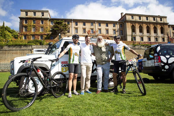Mike Nixon and Jasper van Dijk from team Kingsley Holgate pose with Kingsley Holgate and race founder Kevin Vermaak during the Prologue of the 2015 Absa Cape Epic Mountain Bike stage race held at the University of Cape Town in Cape Town, South Africa on the 15 March 2015 Photo by Sophie Smith/Cape Epic/SPORTZPICS