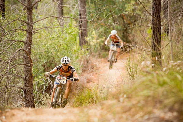 Ariane Kleinhans (front) and Annika Langvad (rear) during stage 6 of the 2015 Absa Cape Epic Mountain Bike stage race from the Cape Peninsula University of Technology in Wellington, South Africa on the 21 March 2015 - Photo by Sam Clark/Cape Epic/SPORTZPICS