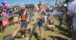 Ariane Kleinhans and Annika Langvad celebrate winning the Ladies Overall division during the final stage (stage 7) of the 2015 Absa Cape Epic Mountain Bike stage race from the Cape Peninsula University of Technology in Wellington to Meerendal Wine Estate in Durbanville, South Africa on the 22 March 2015 - Photo by Emma Hill/Cape Epic/SPORTZPICS