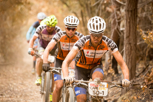 Ariane Kleinhans and Annika Langvad during stage 1 of the 2015 Absa Cape Epic Mountain Bike stage race held from Oak Valley Wine Estate in Elgin, South Africa on the 16 March 2015 Photo by Sam Clark/Cape Epic/SPORTZPICS