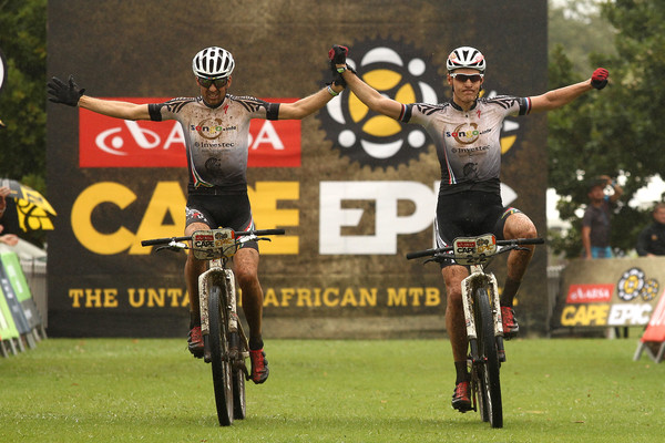 Christoph Sauser and Jaroslav Kulhavy of Investec-Songo-Specialized celebrate winning stage 1 during stage 1 of the 2015 Absa Cape Epic Mountain Bike stage race held from Oak Valley Wine Estate in Elgin, South Africa on the 16 March 2015 Photo by Shaun Roy/Cape Epic/SPORTZPICS