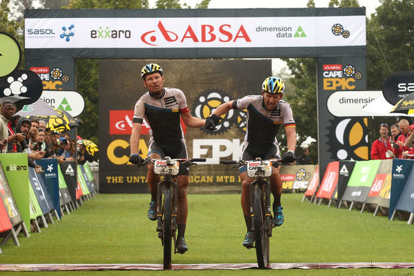 Urs Huber and Karl Platt of the Bulls finish second during stage 1 of the 2015 Absa Cape Epic Mountain Bike stage race held from Oak Valley Wine Estate in Elgin, South Africa on the 16 March 2015 Photo by Shaun Roy/Cape Epic/SPORTZPICS