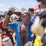 Ian Rodger has big drink on hot stage 3 of the 2015 Absa Cape Epic Mountain Bike stage race held from Oak Valley Wine Estate in Elgin to HTS Drostdy in Worcester, South Africa on the 18 March 2015  Photo by Dominic Barnardt/Cape Epic/SPORTZPICS