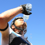 Karl Platt of the Bulls drinks water after finishing stage 3 during stage 3 of the 2015 Absa Cape Epic Mountain Bike stage race held from Oak Valley Wine Estate in Elgin to HTS Drostdy in Worcester, South Africa on the 18 March 2015  Photo by Shaun Roy/Cape Epic/SPORTZPICS