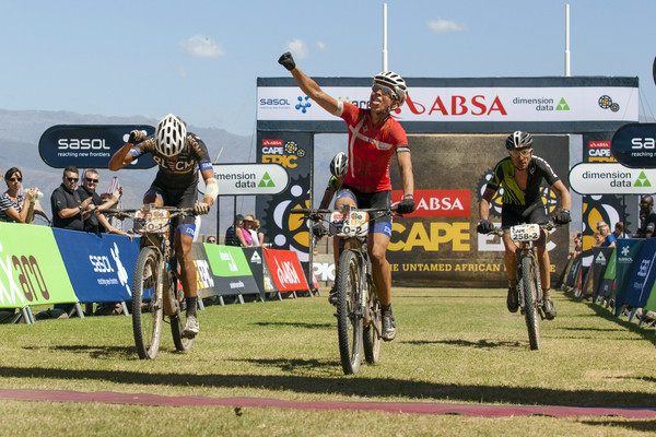 Annika Langvad and Ariane Kleinhans won stage 3 of the 2015 Absa Cape Epic Mountain Bike stage race held from Oak Valley Wine Estate in Elgin to HTS Drostdy in Worcester, South Africa on the 18 March 2015 - Photo by Sophie Smith/Cape Epic/SPORTZPICS